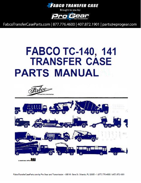 Fabco Manual TC-170 trasferimentu Parts Case
