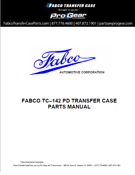 Fabco TC-170 Transfer Case Parts Manual
