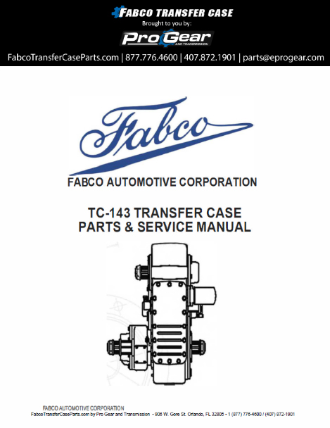 Fabco TC-170 Transfer Parts Case Manual