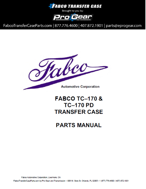 Fabco TC-170 Verteilergetriebe Parts Manual
