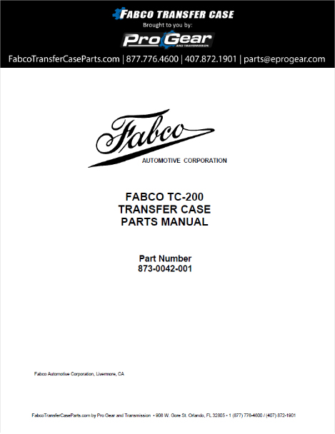 Fabco TC-200 Transfer Case Parts Manual