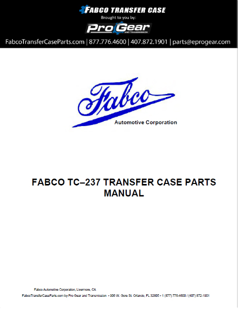 Fabco TC-237 Transfer Case Parts Manual