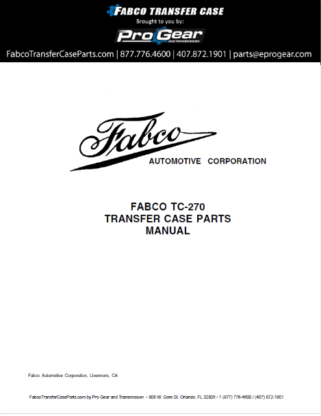 Fabco TC-270 Transfer Case Parts Manual