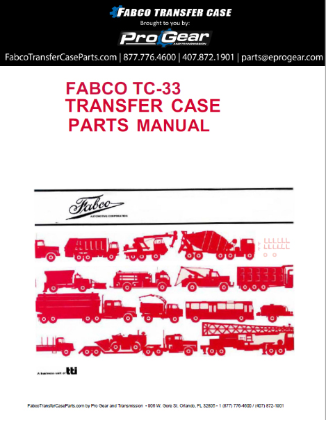 Fabco TC-33 Transfer Case dijelovi Manual