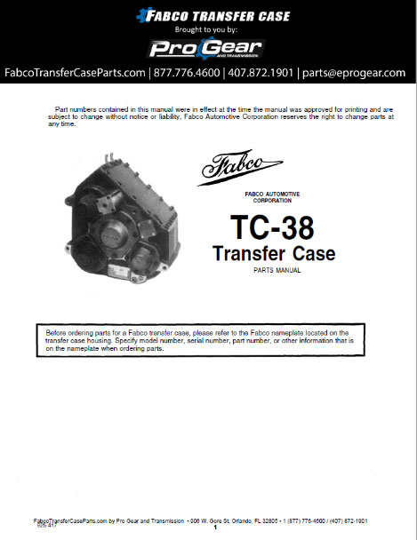 Fabco TC-38 Transfer Case Parts Handbuch